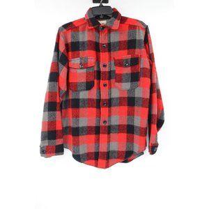 Vintage melton mens M thick wool board shirt plaid